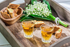 Tough and sweet cantucci with wine Stock Images