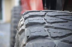 Tough Tread. Mud tires on a jeep Cherokee for mudding, off road adventures, rock climbing, exploring Stock Photos