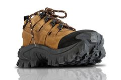 Tough Trekking Shoes. Isolated on White Background royalty free stock images