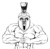 Tough trojan spartan or gladiator. A tough muscular trojan, spartan or gladiator mascot character getting ready for a fight Royalty Free Stock Photography
