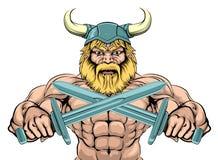 Tough Viking Sword Warrior. Bearded Viking Warrior mascot with crossed swords Stock Image