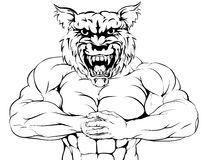 Tough wolf mascot. A tough muscular wolf mascot character getting ready for a fight Stock Image