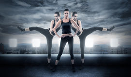 Tough woman in fighting poses royalty free stock images