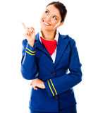 Toughtful flight attendant Stock Images