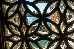 Touirists Colorful Side Canal Bridge Sighs Doges Palace Venice I Royalty Free Stock Photo