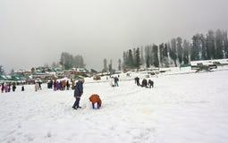 Touists chez Gulmarg, Cachemire, Inde Photos libres de droits