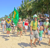 Touists marching in St.Patrick's Day parade, Cabarete, Dominican Republic Stock Photos