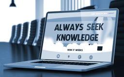 Toujours la connaissance de recherche - sur l'écran d'ordinateur portable closeup 3d Image libre de droits