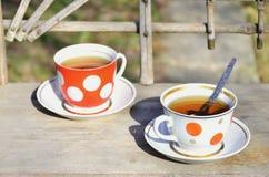 Toujours la vie rustique avec des tasses de thé Photo stock