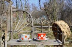 Toujours la vie rustique avec des tasses de thé et de chapeau de paille Photographie stock