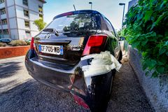 Toulon, France, August 20, 2017: damaged rear bumper repaired with paper tape. Toulon, France, August 20, 2017: car with damaged rear bumper repaired with paper Royalty Free Stock Photography