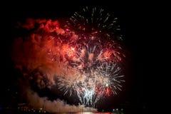 Toulon (Frankrike): fyrverkerier Royaltyfria Bilder