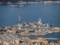 Harbor of Toulon, aircraft carrier Charles de Gaul Royalty Free Stock Photo