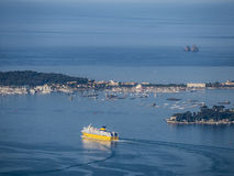 Ferry leaves the harbor of Toulon Royalty Free Stock Photography