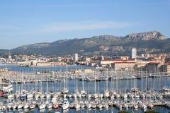 Toulon Marina view. Toulon marina and mountains behind stock image