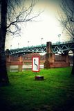 Toulouse. Blue bridge and road signs royalty free stock photo