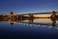 Toulouse city, France. View of Garonne river in Toulouse city center at sunset Royalty Free Stock Photo