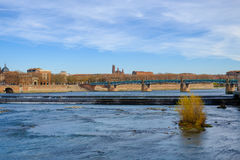 Toulouse city and Garonne river on a sunny autumn day Royalty Free Stock Images