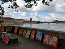 Toulouse cityscape. Street art french river viewd Stock Image