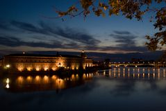 Toulouse and Garonne. Night view of Garonne in Toulouse Royalty Free Stock Photos