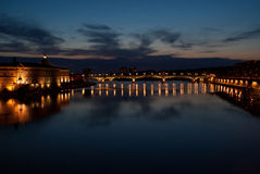 Toulouse and Garonne. At night Stock Photography