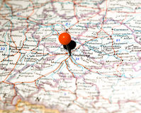 Toulouse location pinned on the route map Royalty Free Stock Image