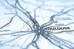 Toulouse Map. Macro of map showing Toulouse, France. Differential focus with shallow depth of field. Cool filter applied post production Royalty Free Stock Photos