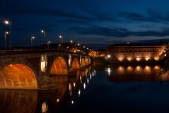 Toulouse at night. Toulouse and new bridge at night Royalty Free Stock Image