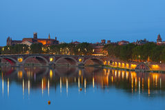Toulouse at night. Cityscape of Toulouse and Pont Neuf at night Royalty Free Stock Image