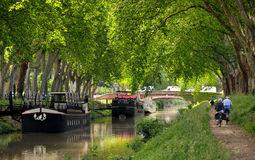 Toulouse three. Walk along the canal of midi in Toulouse, France Royalty Free Stock Photography