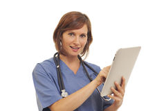 Toung woman doctor in scrubs Royalty Free Stock Photo