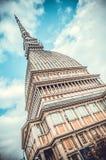 Toupeira Antonelliana da torre, símbolo de Turin, Itália Fotografia de Stock Royalty Free