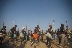 Toupouri tradycyjny danse północny Cameroon Nord Cameroun Fotografia Stock