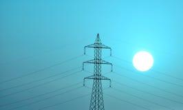 Tour électrique avec l'effet lumineux du soleil et de couleur Images stock