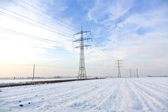Tour électrique dans l'hiver Photos libres de droits