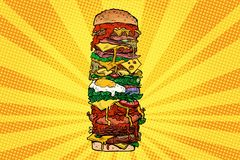 Tour énorme d'hamburger Aliments de préparation rapide de rue illustration libre de droits