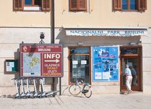 Tour agency floats on  Brijuni. Fazana, Croatia Royalty Free Stock Images