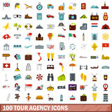 100 tour agency icons set, flat style. 100 tour agency icons set in flat style for any design vector illustration Stock Photos