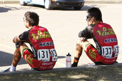 2013 Tour of Alberta. Francisco Mancebo Perez and Andres Diaz of the 5-Hour Energy / Kenda race team rest prior to the start of the first stage of the inaugural Royalty Free Stock Photos
