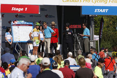 2013 Tour of Alberta. Peter Sagan of Team Cannondale is interviewed prior to the start of Stage 1 of the inaugural 2013 Tour of Alberta bike race at Sherwood Royalty Free Stock Image