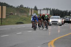 Riders in the Tour of Alberta, September 7th, 2013. Tour of Alberta Pro Cycling Race Royalty Free Stock Photos