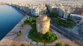 Tour blanche à Salonique banque de vidéos
