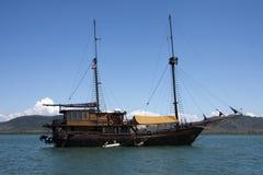 Tour boat anchored in Phang Nga Bay Stock Photo