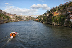 Tour Boat on Douro River in Portugal Royalty Free Stock Photo