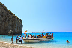 Tour boat in Greece. Tour boat transfering people to beaches in Lefkada, Greece Royalty Free Stock Images