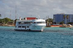 Boat in the harbor on Grand Cayman stock image