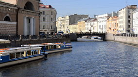 Tour Boat in the inland river. St. Petersburg, Russia stock video footage