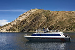 Tour Boat at Isla del Sol (Island of the Sun) in Lake Titicaca, Bolivia Royalty Free Stock Images