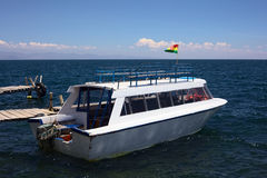 Tour Boat at Jetty on Lake Titicaca, Bolivia Stock Image