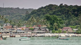 Tour on the boat on the ocean along the coast of the island of Phi-Phi stock video footage